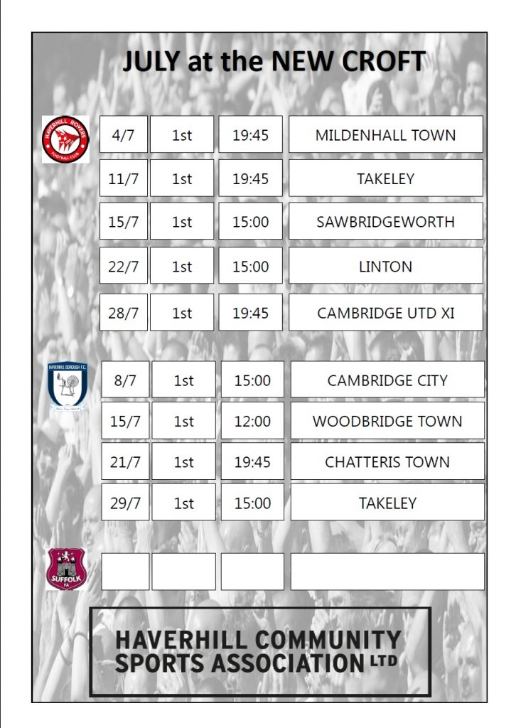 July Pre-season Fixtures at the Croft