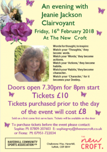 Tickets available from The New Croft for an evening with the amazing Clairvoyant Jeanie Jackson