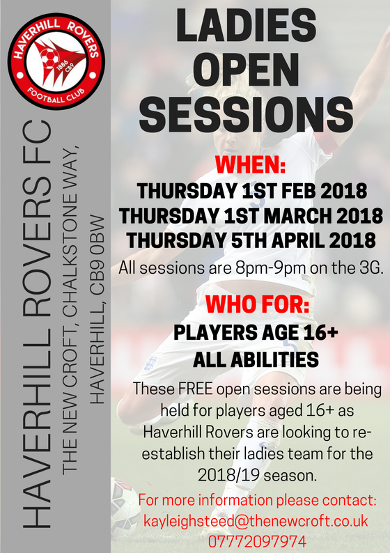 Haverhill Rovers Ladies Open Sessions!