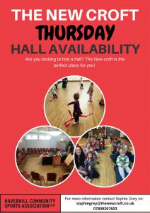 Thursday Evening Hall Hire Availability