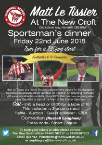Sportsman's Dinner- Friday 22nd June