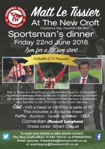 Sportsman's Dinner- Friday 22nd June