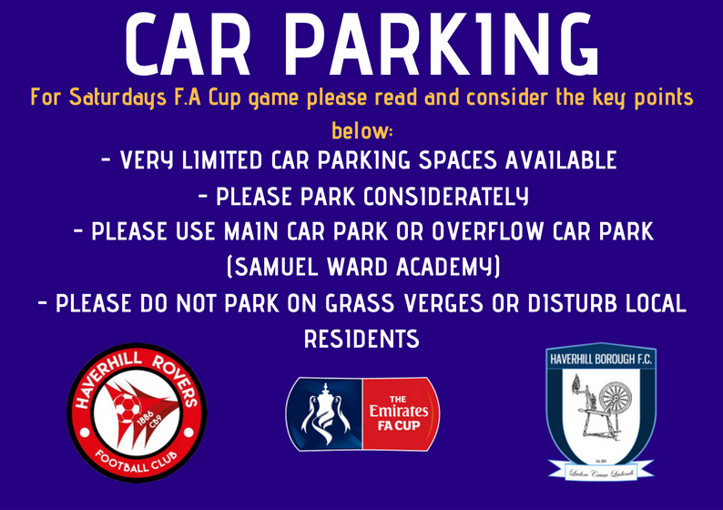 F.A CUP Car Parking – Saturday 11th August