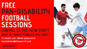 FREE PAN-DISABILITY Football sessions coming to The New Croft