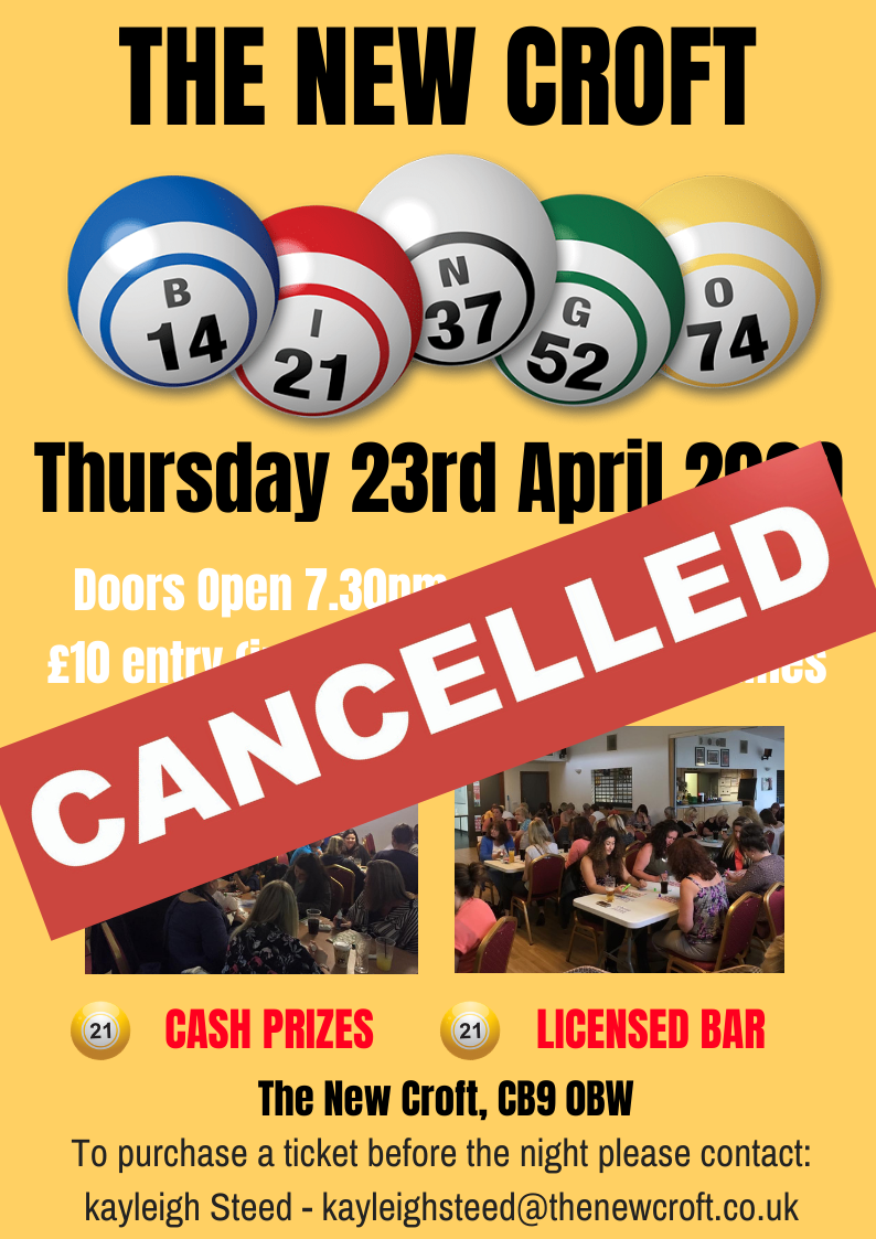 Bingo Night – Cancelled