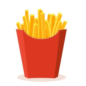 French potato pack box. Cartoon fastfood fry potato isolated illustration