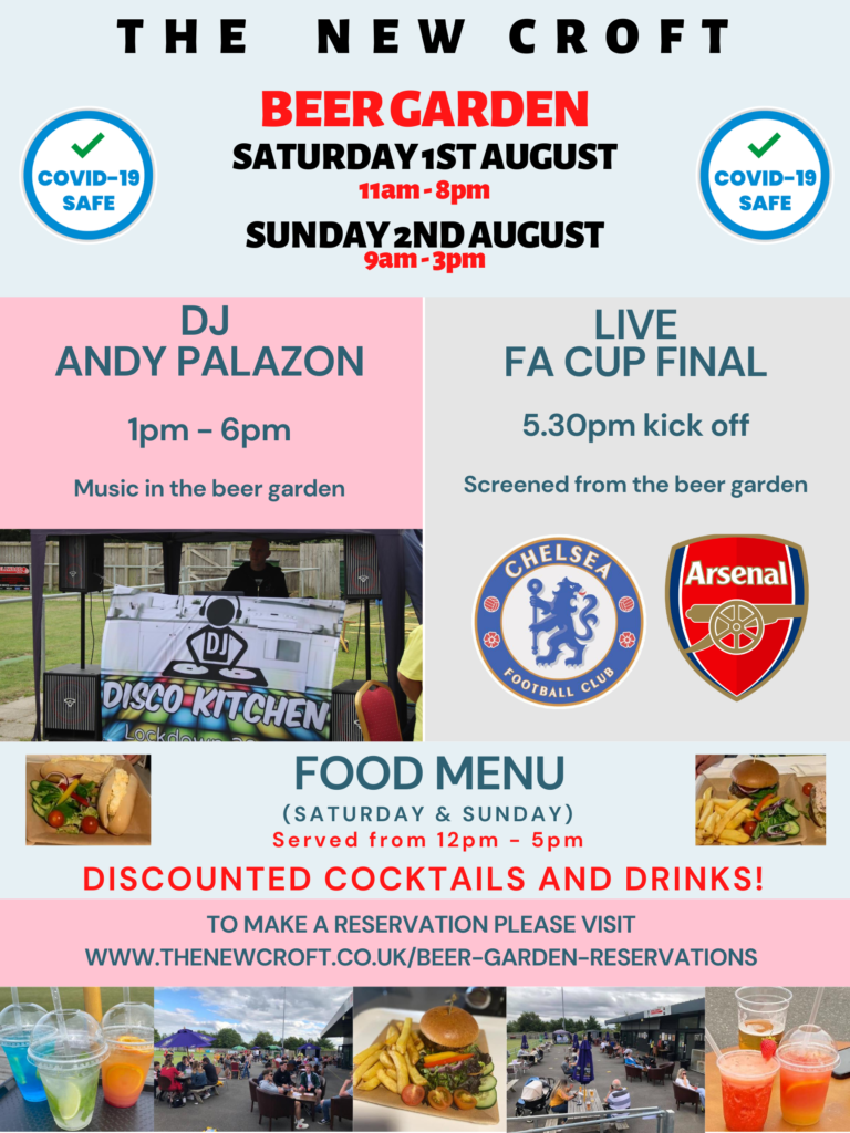 Saturday 1st & Sunday 2nd August – Beer Garden